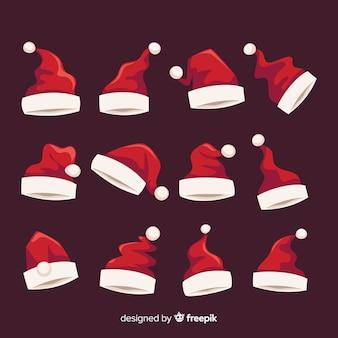 Kerstmuts van de kerstman in plat ontwerp