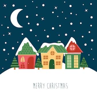 Kerstnacht landschap. in de lucht de maan en de sterren, het huis en de kerstboom met lichtjes. platte vectorillustratie voor postkaart