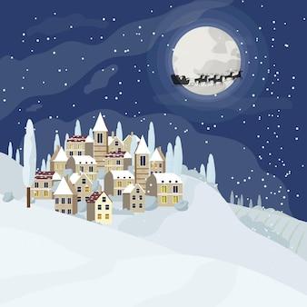 Kerstnachtlandschap met huizen naast een kerstboom met een volle maan en de kerstman