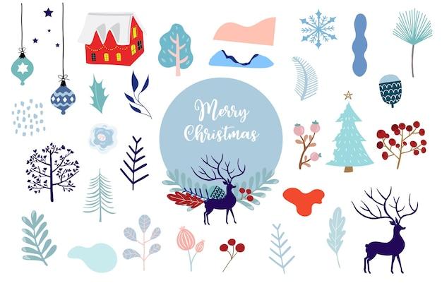 Kerstobject met sneeuwpop, huis, bloem, cadeau