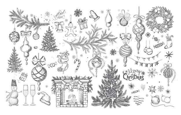 Kerstontwerpelement in doodle-stijl handgetekend
