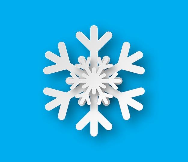 Kerstpapier gesneden sneeuwvlok met schaduw.