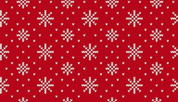 Kerstpatroon breien. kerstmis naadloze achtergrond. vector. gebreide truitextuur met sneeuwvlokken