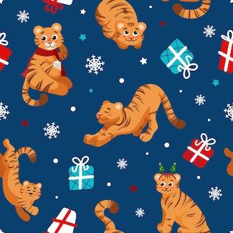 Kerstpatroon in cartoonstijl tijgersymbool van chinees nieuwjaar 2022 geschenken sneeuwvlokken