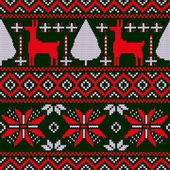 Kerstpatroon in gebreid ontwerp