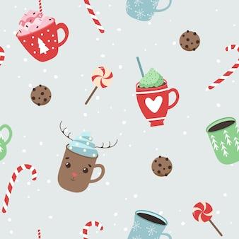 Kerstpatroon, koffiekopjes, koekjes. naadloos patroon