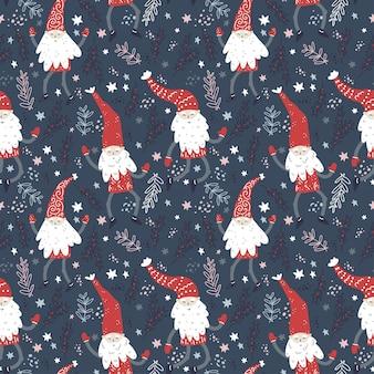 Kerstpatroon met dansende kleine kabouters in rode hoeden schattige scandinavische elfjes
