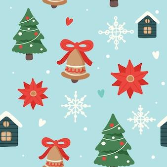 Kerstpatroon met schattige versierde kerstbomen, huizen en klokken