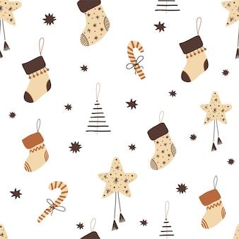 Kerstpatroon met speelgoed in doodle-stijl, in boho-kleuren