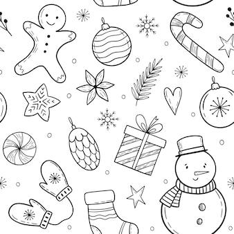 Kerstpatroon met vakantie-elementen doodle kerstelementen winter handgetekende illustratie