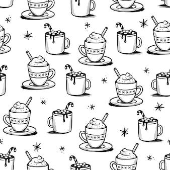 Kerstpatroon met warme drank van winterkoffie, thee, chocolade. hand getrokken doodle schets stijl. drink beker, mok met marshmallow en kaneel. vector illustratie.