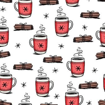 Kerstpatroon met warme drank van winterkoffie, thee, chocolade. hand getrokken doodle schets stijl. drinkbeker, mok met wintersjaal. vector illustratie. Premium Vector