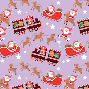 Kerstpatroon naadloos met slee en trein en kerstkarakter