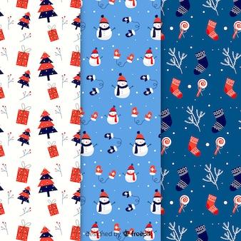 Kerstpatrooncollectie in plat ontwerp
