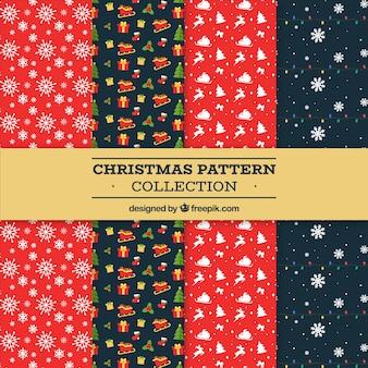 Kerstpatrooncollectie in rood en zwart