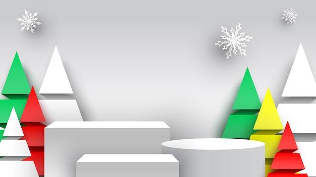 Kerstpodium met sneeuwvlokken en papierbomen tentoonstellingsstandaard leeg voetstuk