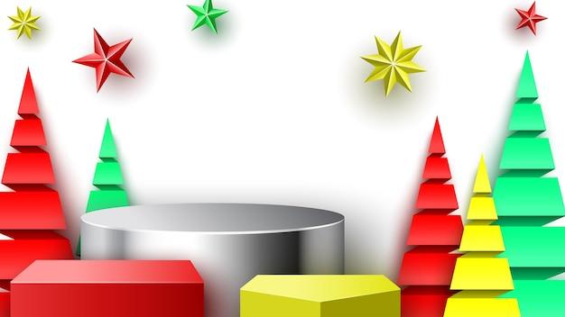 Kerstpodium met sterren en papierbomen. beursstand. voetstuk. vector illustratie.