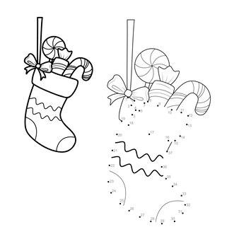 Kerstpuzzel van punt naar punt voor kinderen. verbind stippen spel. sok vector illustratie