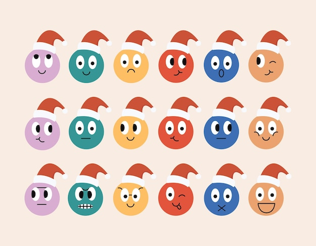 Kerstronde komische gezichten met verschillende emoties en personages in rode hoeden