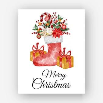 Kerstschoenen met bloem poinsettia en geschenkdoos aquarel illustratie