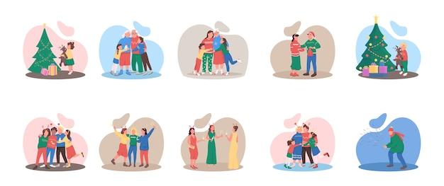 Kerstseizoen egale kleur anonieme tekenset. familie en vrienden. luxe feestelijk evenement. wintervakantie geïsoleerde cartoon afbeelding voor web grafisch ontwerp en animatie collectie