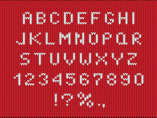 Kerstseizoen lettertype plat. gebreide letters en cijfers instellen.