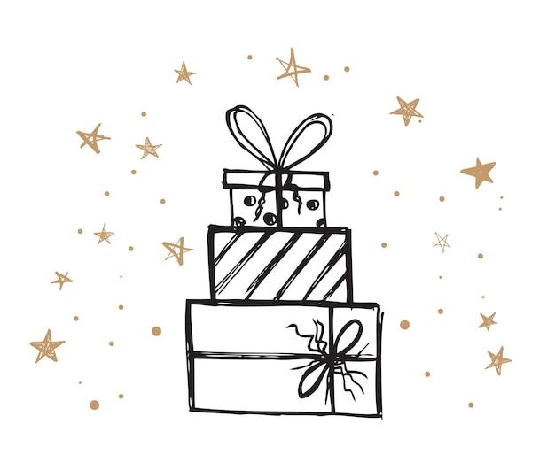 Kerstset doodle iconen van geschenkdoos handgetekende elementen