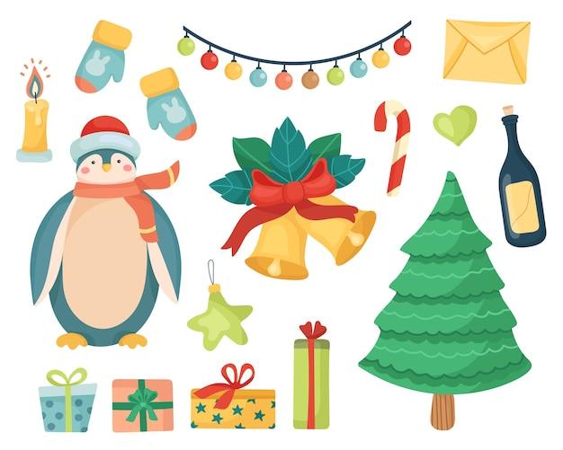 Kerstset feestelijke elementen voor het nieuwe jaar.