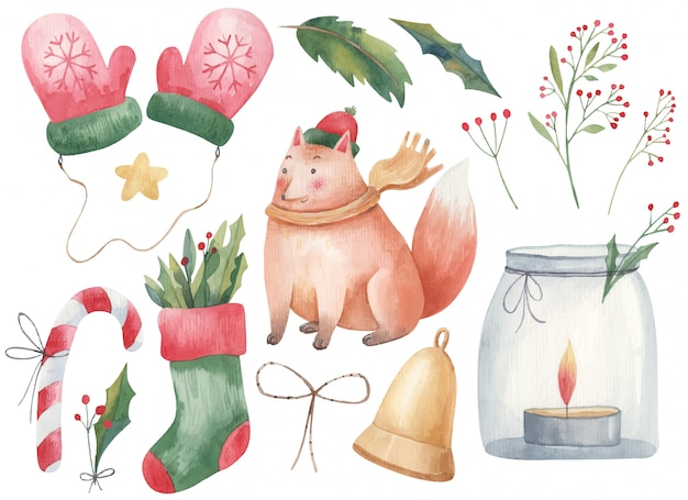 Kerstset kinderen aquarel illustratie met vos, handschoenen, wanten, kerstsok, lolly, kaars in een pot, kandelaar en twijgen