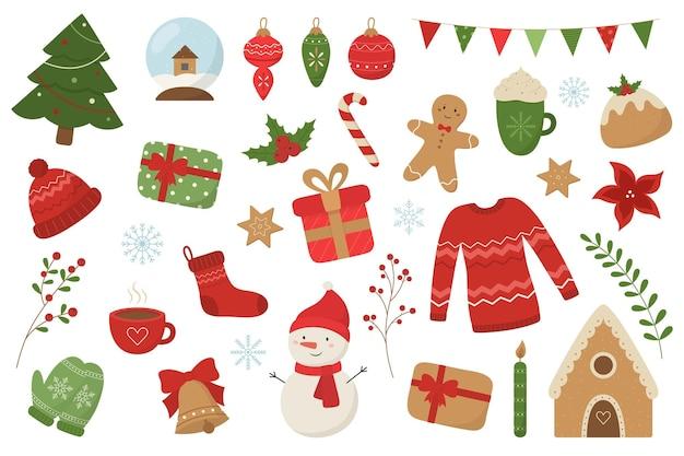 Kerstset leuke seizoenselementen in een vlakke stijl