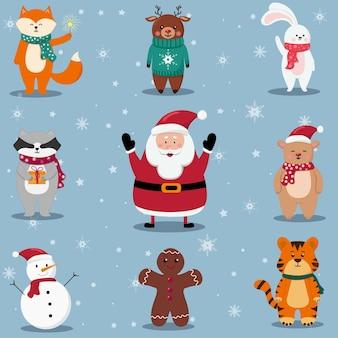 Kerstset met de kerstman en schattige dieren. tijger, beer, hert, konijn, vos, wasbeer, sneeuwpop