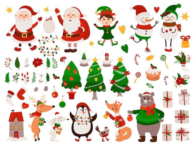 Kerstset met geïsoleerde dieren, kabouter, kerstman