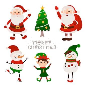 Kerstset met geïsoleerde schattige santa, snowmans en kabouter