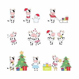 Kerstset met het symbool van het nieuwe jaar 2021. vrolijke stieren en koeien kleden de kerstboom aan, drinken champagne, geven cadeaus. gelukkig nieuwjaar en vrolijk kerstfeest. pictogrammen met verschillende stieren.