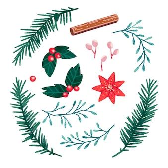 Kerstset met hulst, kaneel, rode bloem, roze bessen, blauwe bloemen, kerstboom