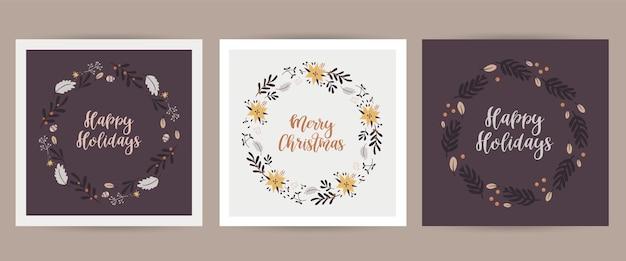 Kerstset met kerstkaarten met kerstillustraties. afdrukbare kaarten sjablonen.
