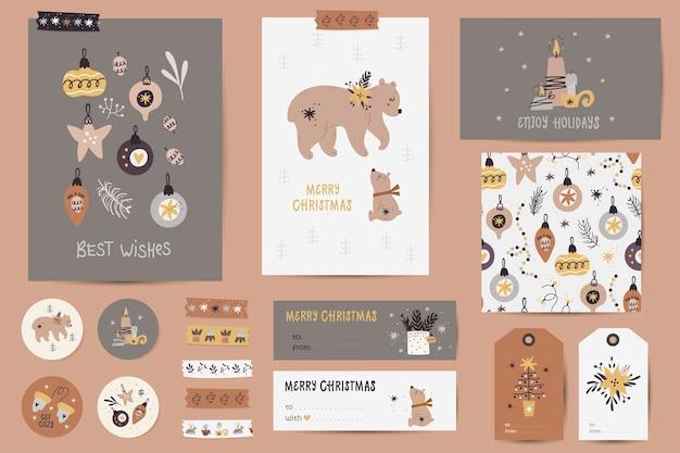Kerstset met kerstkaarten, notities, stickers, etiketten, postzegels, tags met kerstillustraties. afdrukbare kaarten sjablonen.
