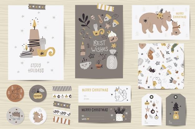 Kerstset met kerstkaarten, notities, stickers, etiketten, stempels, tags met kerstillustraties.