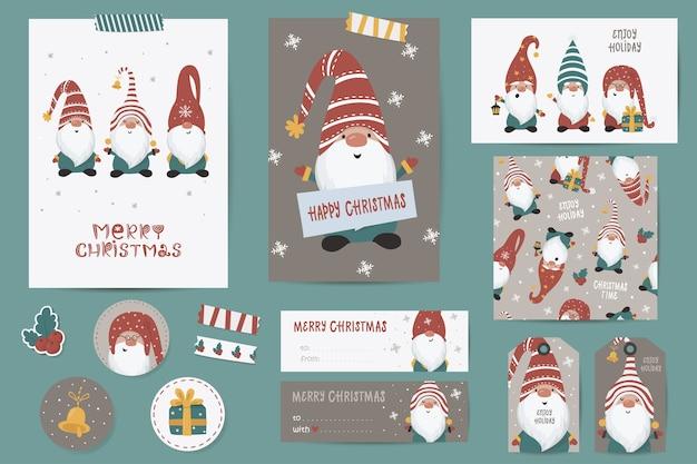 Kerstset met kerstkaarten, notities, stickers, etiketten, stempels, tags met winterkerstmisillustraties, wenssjabloon. afdrukbare kaartsjablonen.