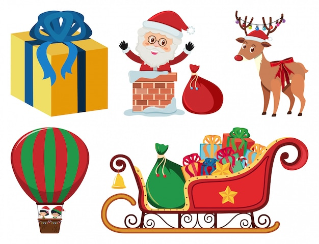 Kerstset met kerstman en slee
