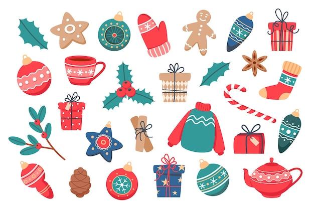 Kerstset met leuke elementen, in vlakke stijl