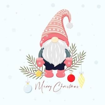Kerstset met scandinavische kabouters kerstkabouters illustratie