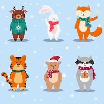 Kerstset met schattige dieren tijger beer herten konijn vos wasbeer platte vectorillustratie