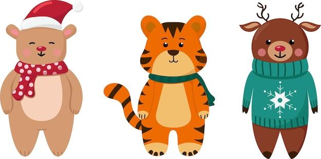 Kerstset met schattige dieren tijgerbeer en hert