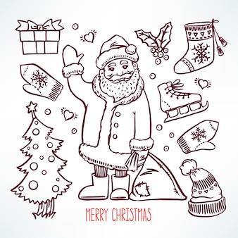 Kerstset met schets vakantie attributen en lachende kerstman. handgetekende illustratie