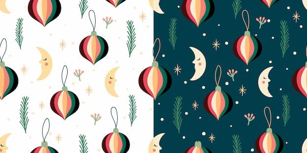 Kerstset met seizoensgebonden naadloze patronen, winter