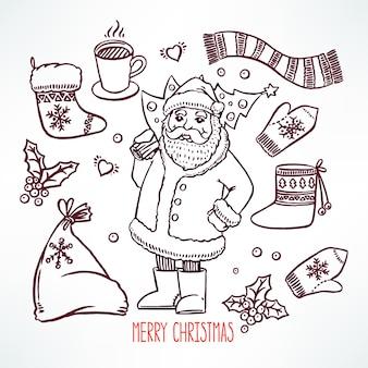 Kerstset met vakantieattributen en lachende kerstman. handgetekende illustratie