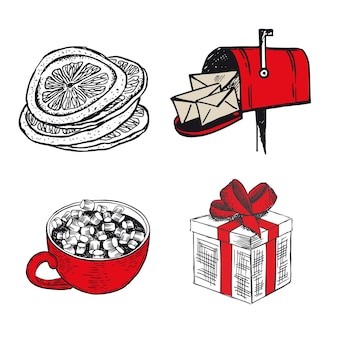 Kerstset nieuwjaarskaart mailbox cup handgetekende illustratie vector