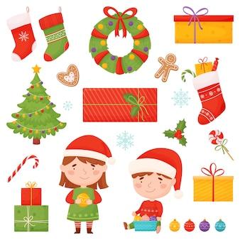 Kerstset tekens en elementen in cartoon-stijl. illustratie op witte achtergrond