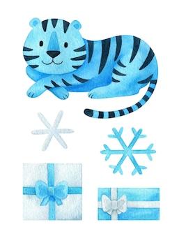 Kerstset van clipart 2022 jaar met een blauwe tijger, cadeau, een sneeuwvlok, een wintervakantie